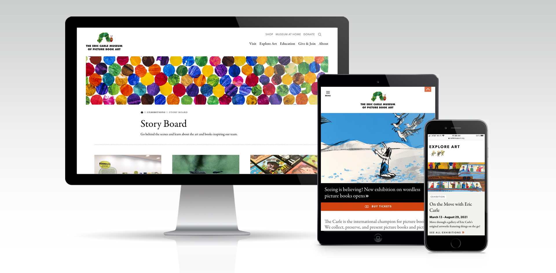 responsive website designs for the Eric Carle Museum of Picture Book Art